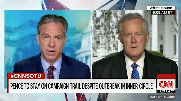 CNN anchor Jake Tapper interviews White House chief of staff Mark Meadows
