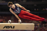 Stephen Nedoros competes on the pommel horse during the men's U.S. Olympic Gymnastics Trials Thursday, June 24, 2021, in St. Louis. (AP Photo/Jeff Roberson)