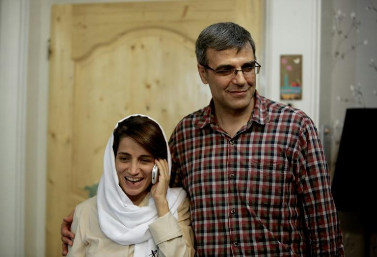 Iranian humman rights lawyer  Nasrin Sotoudeh seen in this 2013 picture alongside her husband is an award-winning activist jailed on charges of espionage