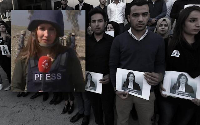 "<span class=""s1"">Iraqi journalism students hold photos of Shifa Gardi (shown in inset) during a memorial in February. (Photos: Rudaw TV, Safin Hamed/AFP/Getty Images)</span>"