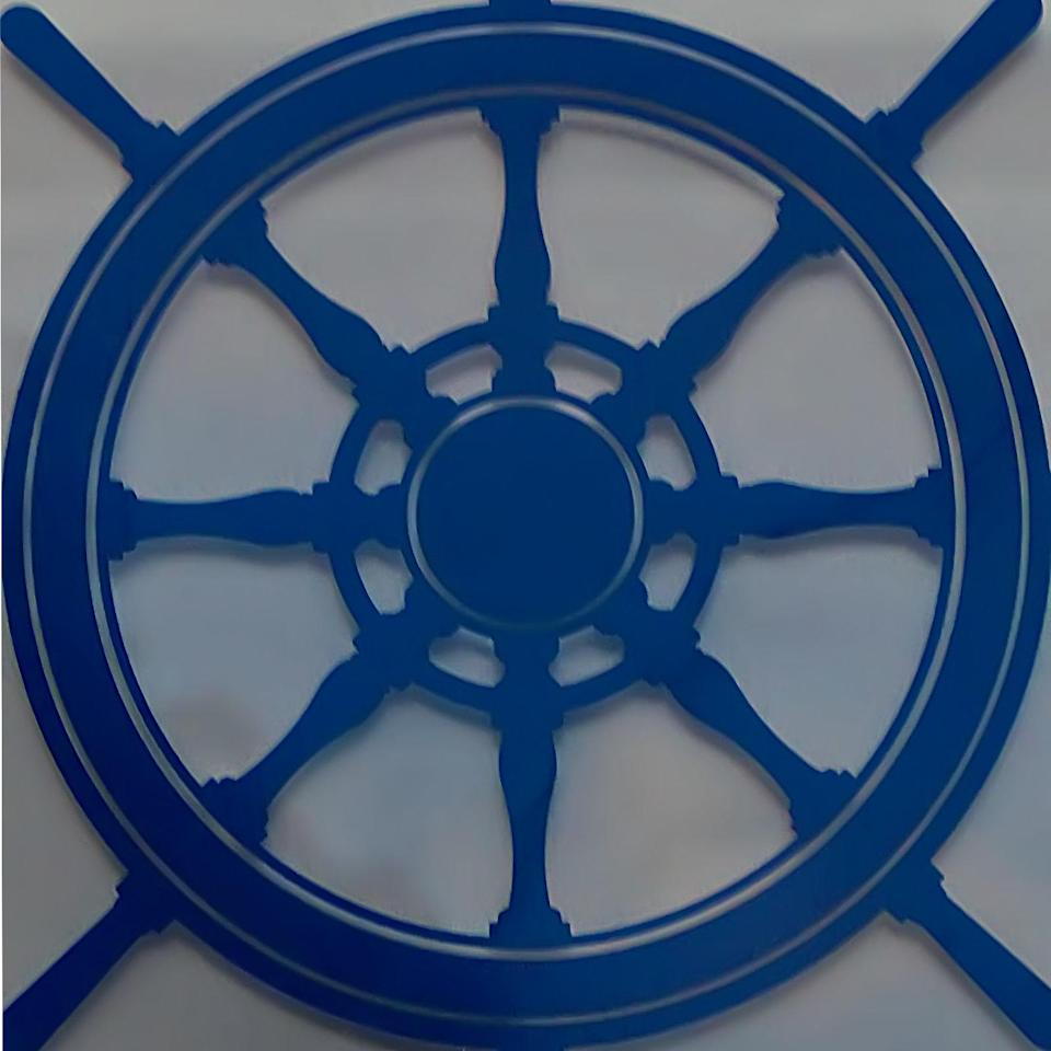 Image of a blue steering wheel for a ship.