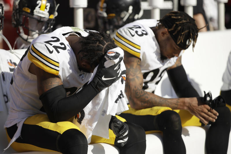 Pittsburgh Steelers cornerback Steven Nelson (22) sits on the bench next to cornerback Joe Haden (23) during the second half of an NFL football game against the San Francisco 49ers in Santa Clara, Calif., Sunday, Sept. 22, 2019. (AP Photo/Ben Margot)
