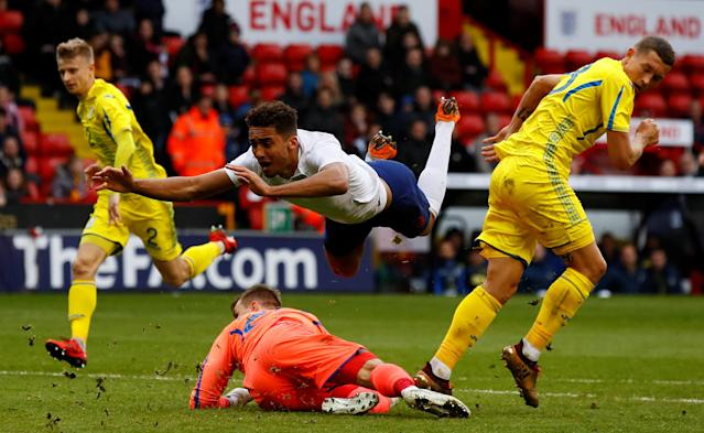 Soccer Football - European Under 21 Championship Qualifier - England vs Ukraine - Bramall Lane, Sheffield, Britain - March 27, 2018 England's Dominic Calvert-Lewin scores their first goal Action Images via Reuters/Jason Cairnduff