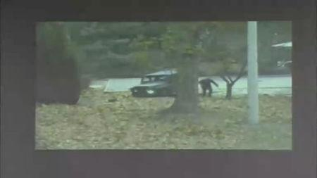 A CCTV footage shows a North Korean soldier running from a vehicle during a United Nations Command (UNC) briefing on the investigation results of the soldier's defection, at the South Korean defence ministry in Seoul in this still image taken from a Reuters TV video, November 22, 2017. REUTERS/Reuters TV