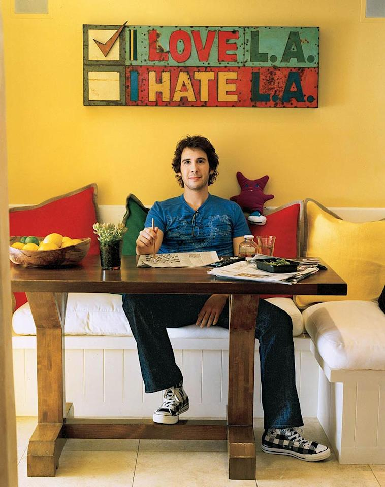 "Bestselling recording artist Josh Groban welcomes In Style magazine into his Malibu home for their July 2008 issue. ""I'm in an I-love-L.A. stage,"" says the city's native son. Bobby Fisher/<a href=""http://www.instyle.com/instyle/"" target=""new"">In Style</a> - 2008"