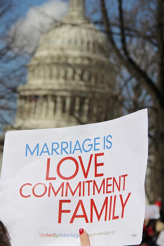 Protesters outside the Supreme Court on Tuesday, March 26 during gay marriage hearings. (Chris Moody/Yahoo News.)