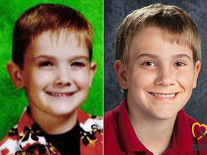 Timmothy Pitzen (left) and an age-progressed photo of him   National Center for Missing or Exploited Children (2)