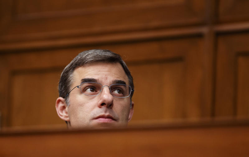 """House Oversight and Reform National Security subcommittee member Rep. Justin Amash, R-Mich., watches from the dais on Capitol Hill in Washington, Wednesday, May 22, 2019, during the House Oversight and Reform National Security subcommittee hearing on """"Securing U.S. Election Infrastructure and Protecting Political Discourse."""" (AP Photo/Carolyn Kaster)"""