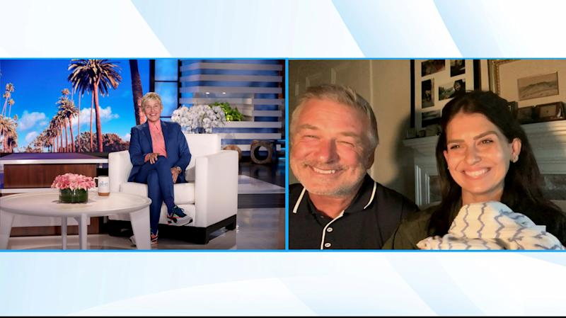 Alec Baldwin appeared on Wednesday's Ellen DeGeneres Show to introduce his new baby — and offer support to Ellen. (Photo: Michael Rozman/Warner Bros.)