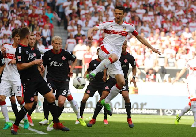 Football Soccer - VfB Stuttgart v Wurzburger Kickers - 2. Bundesliga - Mercedes-Benz Arena, Stuttgart, Germany - 21/5/17 VfB Stuttgart's Christian Gentner shoots at goal Reuters / Kai Pfaffenbach Livepic DFL RULES TO LIMIT THE ONLINE USAGE DURING MATCH TIME TO 15 PICTURES PER GAME. IMAGE SEQUENCES TO SIMULATE VIDEO IS NOT ALLOWED AT ANY TIME. FOR FURTHER QUERIES PLEASE CONTACT DFL DIRECTLY AT + 49 69 650050.