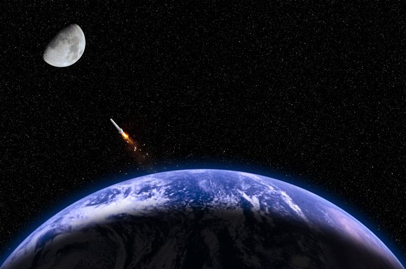 The photograph describes the moon mission. The photograph of moon was captured by myself. The photograph of Earth and rocket are taken from the following NASA's website: http://nssdc.gsfc.nasa.gov/photo_gallery/photogallery-earth.html