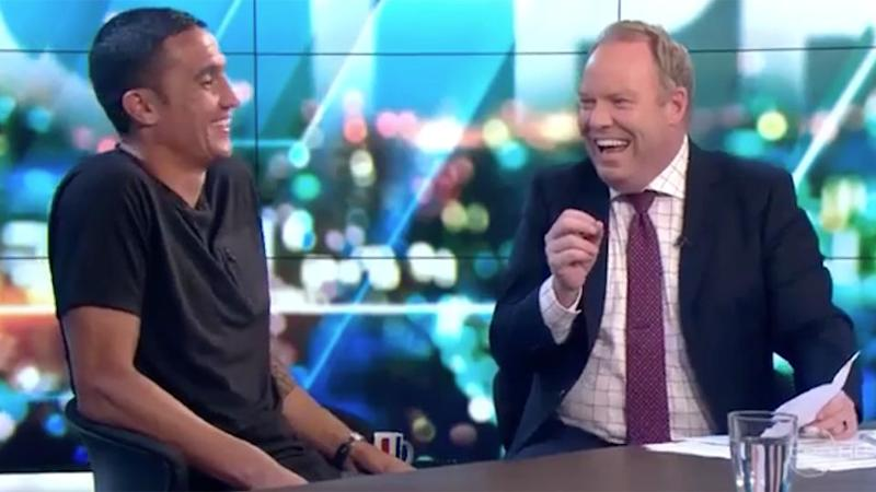 Cahill and Hellier on The Project. Image: Network Ten