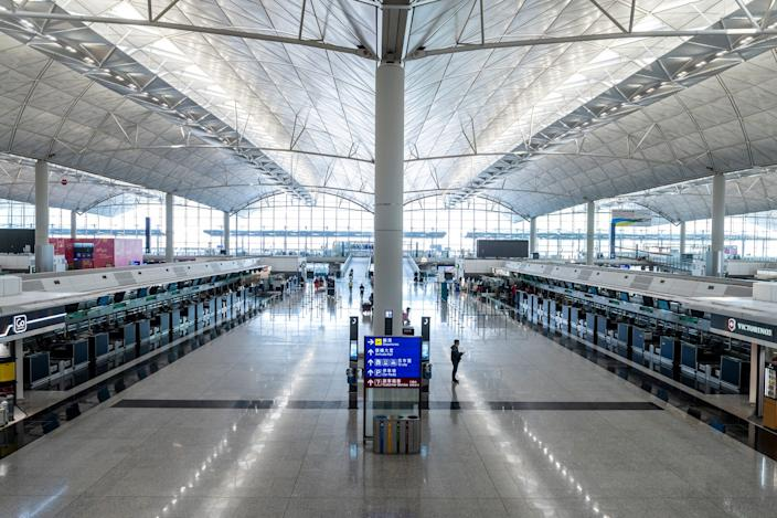 A General view showing empty check in counters inside the terminal of the Hong Kong International Airport on February 22, 2020 in Hong Kong, China. 2