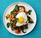 """<p>More of a deconstructed breakfast sandwich than a toast, this easy dish takes just 25 minutes and boasts enough protein and fiber to keep you feeling full—while only including 265 calories.</p><p><a href=""""https://www.prevention.com/food-nutrition/recipes/a31940207/butternut-squash-and-spinach-toast-recipe/"""" rel=""""nofollow noopener"""" target=""""_blank"""" data-ylk=""""slk:Get the recipe from Prevention »"""" class=""""link rapid-noclick-resp""""><strong><em>Get the recipe from Prevention »</em></strong></a></p>"""
