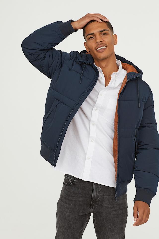 "<p><strong>H&M</strong></p><p>Padded Jacket in Blue, hm.com</p><p><strong>$69.99</strong></p><p><a rel=""nofollow"" href=""https://www2.hm.com/en_us/productpage.0497642001.html"">Shop Now</a></p><p>A modern version of his old puffer coat will make him look like the cool dad he already thinks he is.</p>"