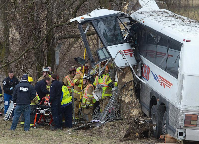 Emergency and rescue crews respond to the scene of a tour bus crash on the Pennsylvania Turnpike on Saturday, March 16, 2013 near Carlisle, Pa.  Authorities say the tour bus crashed on the freeway at mile marker 227 in central Pennsylvania, and serious injuries have been reported.  Megan Silverstram of the Cumberland County public safety department says the crash in the eastbound lanes of the Pennsylvania Turnpike was reported just before 9 a.m. Saturday. She says there are reports of multiple injuries, including that some are serious. (AP Photo/The Sentinel, Jason Malmont ) MANDATORY CREDIT
