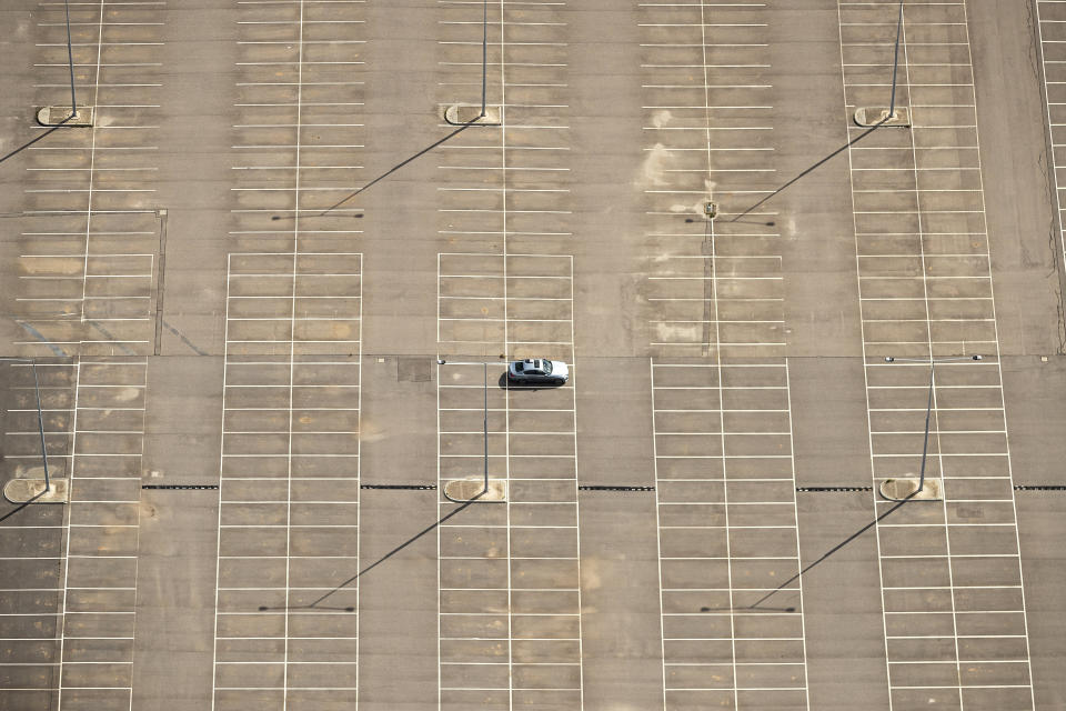 An aerial view of long term car park at Melbourne Airport during COVID-19 lockdown.