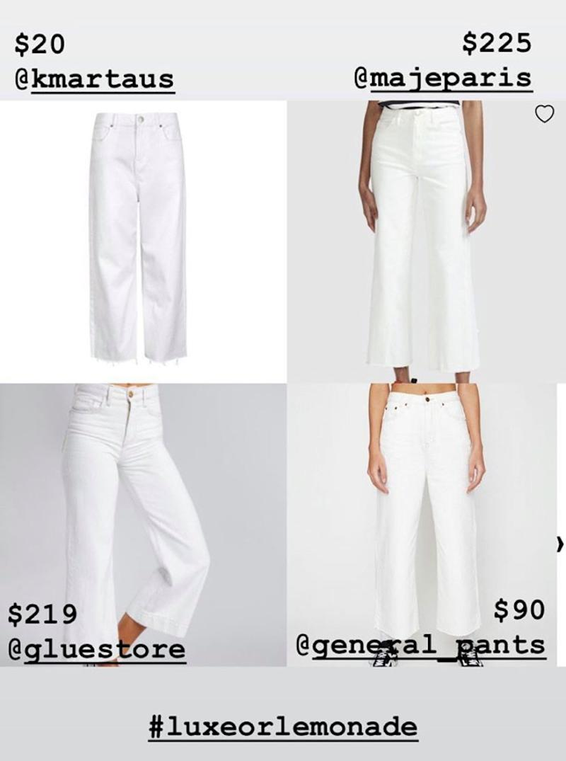 Price comparison of white cropped frayed hemmed jeans