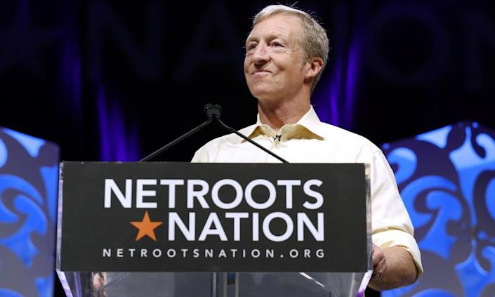 Tom Steyer speaks at the Netroots Nation annual conference for progressives in New Orleans, Louisiana on 2 August.