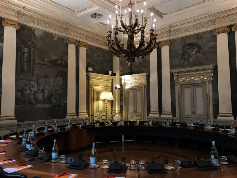 The boardroom of the UBI Banca's Milan offices, where CEO Victor Massiah worked during the lockdown due to the spread of the coronavirus disease (COVID-19), is seen in Milan