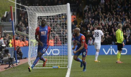 Britain Soccer Football - Crystal Palace v Leicester City - Premier League - Selhurst Park - 15/4/17 Crystal Palace's Christian Benteke celebrates scoring their second goal Reuters / Hannah McKay Livepic