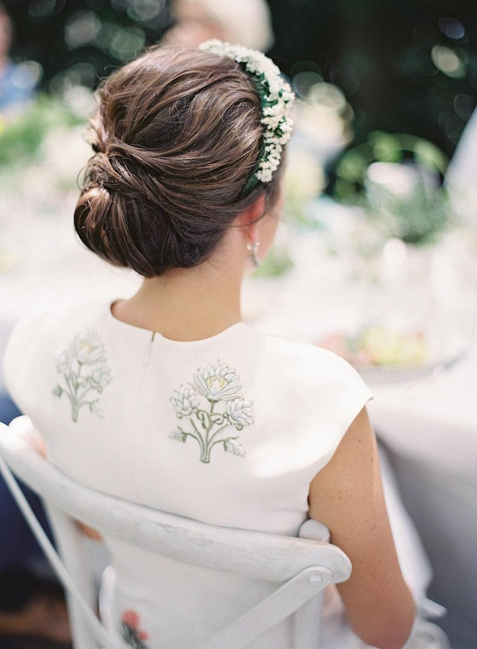 The back view of my updo and embroidered Sachin & Babi dress.