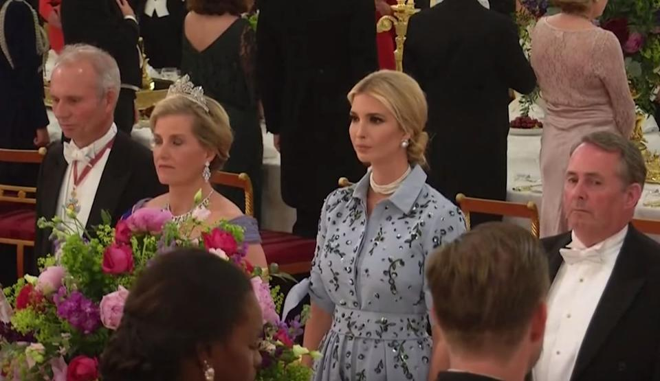 Social media users called out Ivanka Trump for failing to place her right hand over her heart at the state banquet on Monday. (Photo: YouTube)