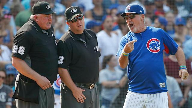 Cubs manager Joe Maddon does not appreciate how MLB has handled the Cubs weather-impacted scheduling issues. (AP)