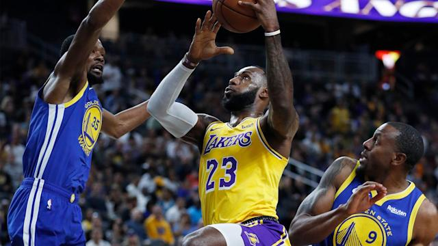 <p>Steph Curry, Klay Thompson and Kevin Durant combined to score 61 points, but the Warriors reserves couldn't hang with the Lakers in the second half on Wednesday in Vegas.</p>