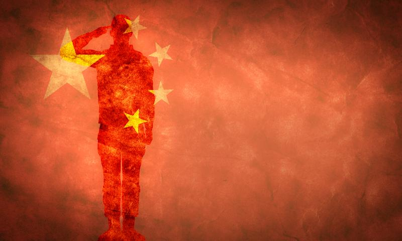 Chinese grunge flag with soldier silhouette. Vintage, retro style. High resolution, hd quality. Item from my grunge flags collection.