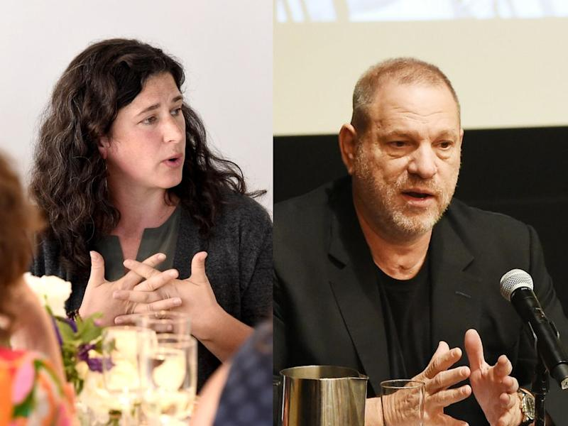 """""""I remembered what it was like to have the full force of Harvey Weinstein — back then a mountainous man — screaming vulgarities at me, his spit hitting my face,"""" Traister wrote."""