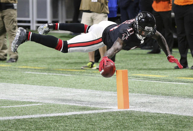 "Julio Jones and the Atlanta Falcons can go a long way toward securing a playoff spot with a win over Tampa Bay on ""Monday Night Football."" (AP)"
