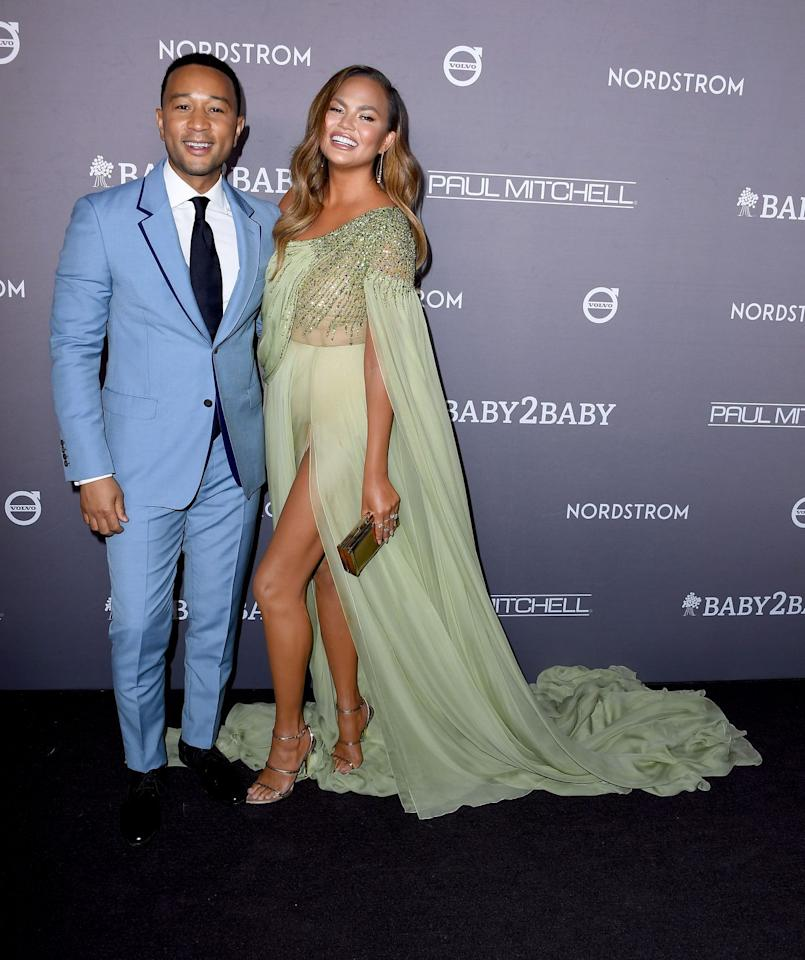 <p>John wore a blue suit for the A-List event while Chrissy wore a couture gown by Georges Hobeika.</p>