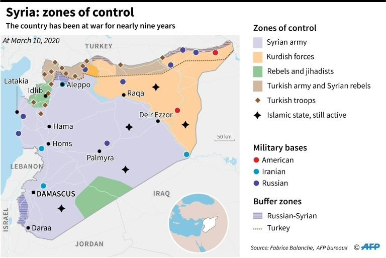 Map of Syria showing zones of control by the different partipants in the nearly nine-year long conflict (AFP Photo/Bruno KALOUAZ)