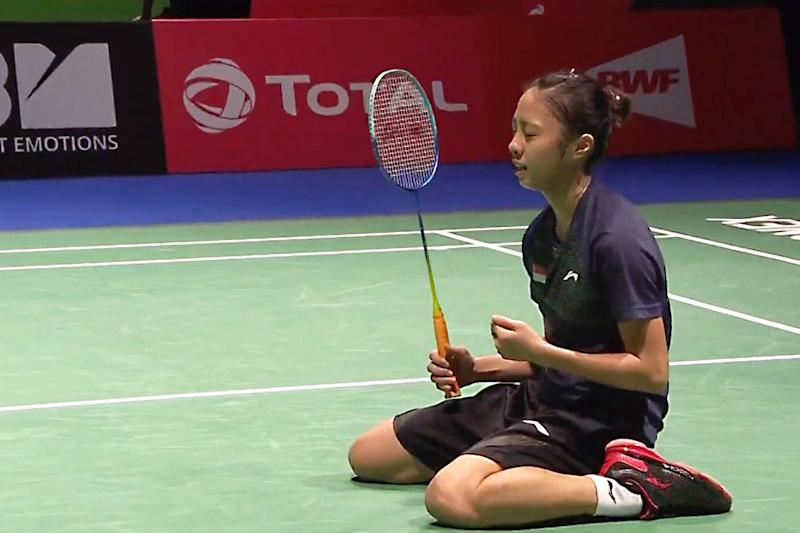 (SCREENSHOT: Yeo Jia-Min after scoring the winning match point against Vietnam's Vu Thi Trang at the Badminton World Championships on 22 August 2019)