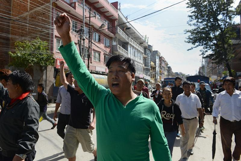 Nepal Federation of Indigenous Nationalities (NEFIN) protesters chant slogans as they march during a strike demanding secularism in the new constitution, in Kathmandu on August 23, 2015 (AFP Photo/Prakash Mathema)