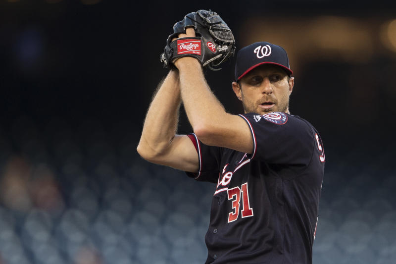 The Washington Nationals are working to get starting pitcher Max Scherzer ready for a potential wild-card game after two back injuries. (Tommy Gilligan-USA TODAY Sports)