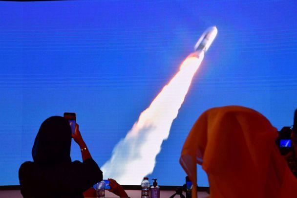 PHOTO: A picture taken on July 19, 2020, shows a screen broadcasting the launch of the 'Hope' Mars probe at the Mohammed Bin Rashid Space Centre in Dubai. (Giuseppe Cacace/AFP via Getty Images)