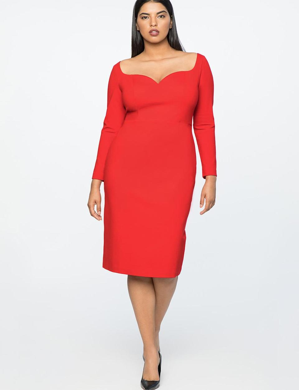 """<p>This sweetheart dress comes in a red-hot shade for those evenings when you want to spice up your look. <br>Jason Wu x Eloquii sweetheart sheath dress in red, $111, <a rel=""""nofollow noopener"""" href=""""https://fave.co/2P4wr2w"""" target=""""_blank"""" data-ylk=""""slk:eloquii.com"""" class=""""link rapid-noclick-resp"""">eloquii.com</a> </p>"""