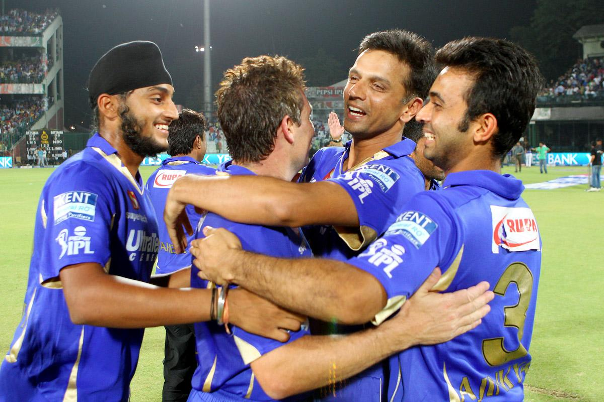 Rahul Dravid and Brad Hodge celebrate the win during the  eliminator match of the 2013 Pepsi Indian Premier League between The Rajasthan Royals and the Sunrisers Hyderabad held at the Feroz Shah Kotla Stadium, Delhi on the 22nd May 2013. (BCCI)