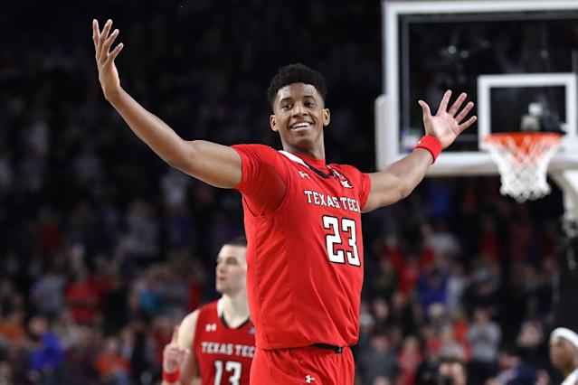 Jarrett Culver #23 of the Texas Tech Red Raiders celebrates late in the second half against Michigan State. (Getty)