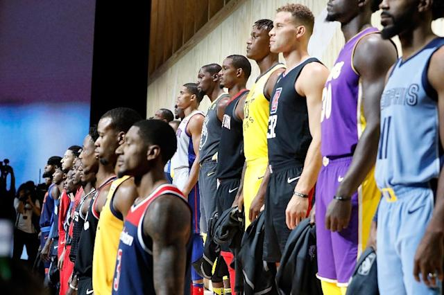 Some of Nike's new NBA jerseys, seen at the unveiling of the Nike-NBA partnership in September 2017, have been torn to shreds just a few months into the season, leaving Nike scrambling to remedy the PR headache (AFP Photo/Josh Lefkowitz)