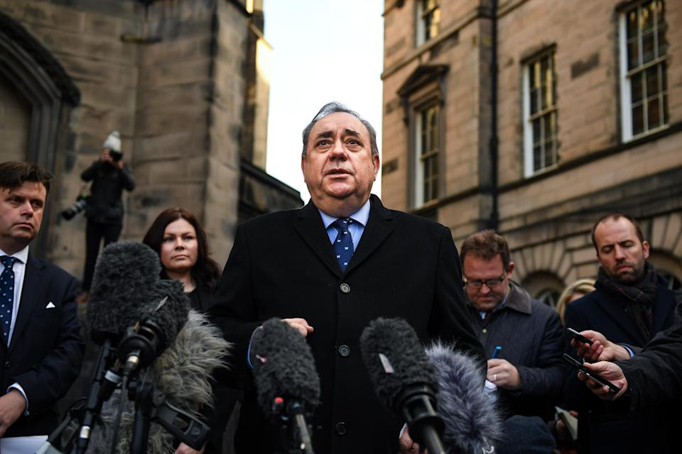 Mr Salmond gives a statement to the media after his brief court appearance on Thursday. (Getty)