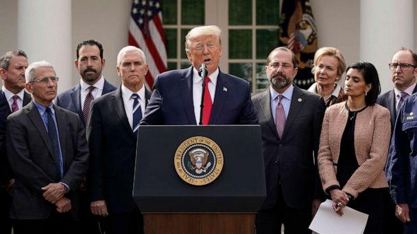 PHOTO: President Donald Trump holds a news conference about the ongoing global coronavirus pandemic in the Rose garden at the White House, March 13, 2020 in Washington. (Drew Angerer/Getty Images)