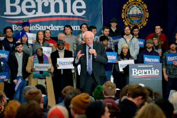PHOTO: Presidential Candidate Senator Bernie Sanders speaks at a rally at Keene State College in Keene, N.H., Feb. 9, 2020. (Joseph Prezioso/AFP/Getty Images)
