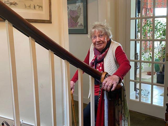 Undated handout photo of Margaret Payne at her home in Ardvar, Sutherland. The 90-year-old finished her challenge to climb the equivalent height of Suilven on her stairs