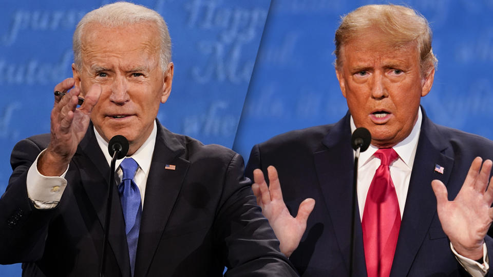 Joe Biden and President Donald Trump during the second and final presidential debate Thursday, Oct. 22, 2020, at Belmont University in Nashville, Tenn. (Photo illustration: Yahoo News; photos: Julio Cortez/AP)