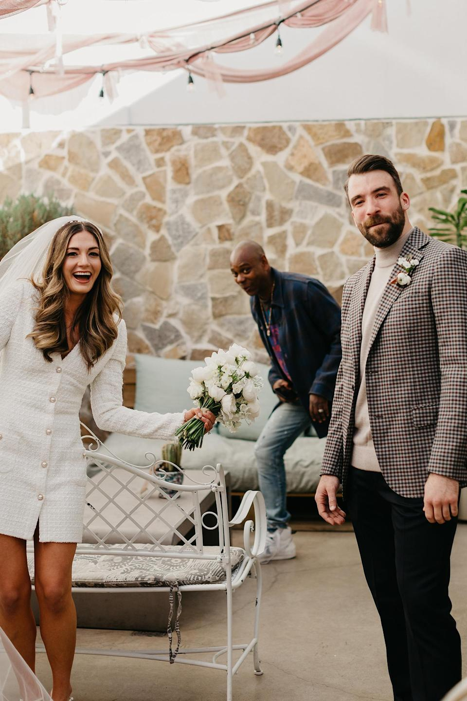 Dave Chappell surprised Eleanor and Matt before their wedding in the outdoor patio area at the Line Hotel in Austin, Texas.  (Anna Szczeczotz)