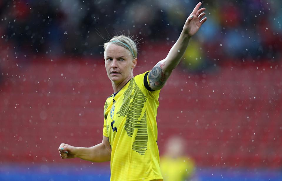 RENNES, FRANCE - JUNE 11: Nilla Fischer of Sweden during the 2019 FIFA Women's World Cup France group F match between Chile and Sweden at Roazhon Park on June 11, 2019 in Rennes, France. (Photo by Catherine Ivill - FIFA/FIFA via Getty Images)