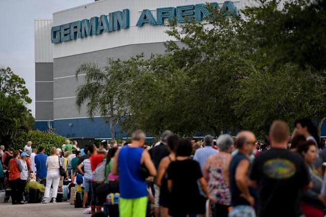 <p>Residents line up outside for shelter in the Germain Arena in preparation for Hurricane Irma in Estero, Fla., Sept. 9, 2017. (Photo: Bryan Woolston/Reuters) </p>